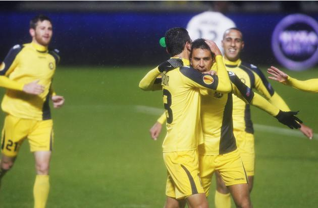 Maccabi Tel Aviv's Zahavi celebrates with team mates after scoring against Girondins Bordeaux during their Europa League soccer match in Tel Aviv