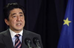 Japan's PM Shinzo Abe holds a news conference upon the conclusion of his tour to Europe in Brussels
