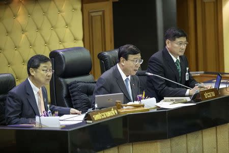 President of Thailand's National Legislative Assembly Vichitcholchai, First Vice President Liengboonlertchai and Second Vice President Phortjit speak during a parliamentary session at parliament house in Bangkok