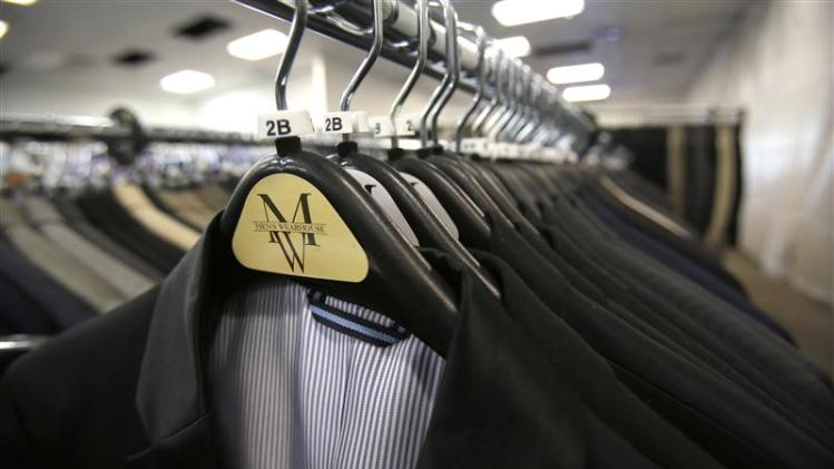 File of suits hanging on a rack at a Men's Wearhouse store in Pasadena, California
