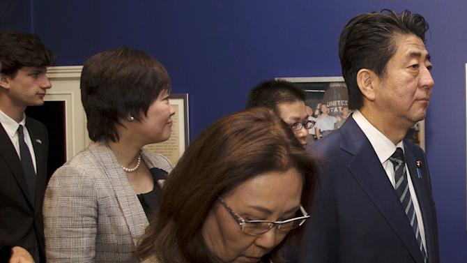 Japanese PM Abe and his wife tour the John F. Kennedy Presidential Library in Boston