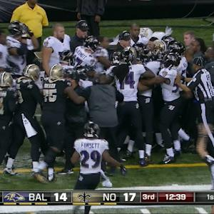 New Orleans Saints safety Kenny Vaccaro's personal foul on Baltimore Ravens wide receiver Steve Smith Sr.
