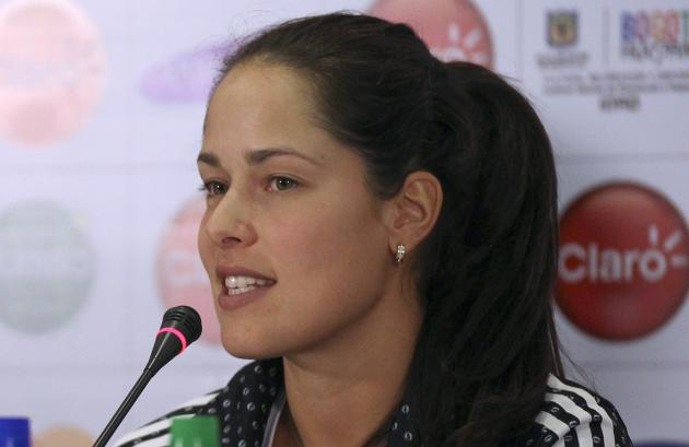 Ana Ivanovic of Serbia speaks during a news conferences in Bogota