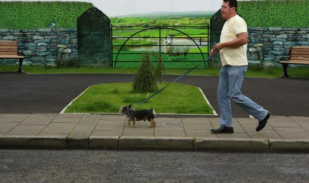 Man walks his dog past a hoarding around a building site, which has been covered with artwork to make it look more appealing, in the village of Bushmills on the Causeway Coast