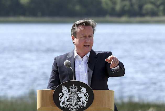 British Prime Minister David Cameron speaks during a media conference at the G-8 summit at the Lough Erne golf resort in Enniskillen, Northern Ireland, on Tuesday, June 18, 2013. The final day of the