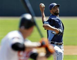 Price, Moore make debuts as Rays tie Orioles 7-7