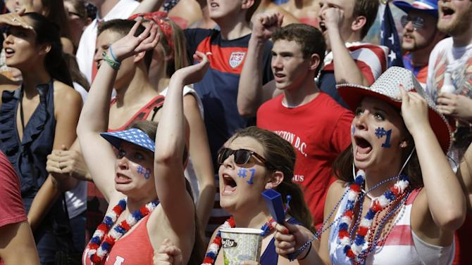Soccer fans react to a play during a World Cup match between the United States and Belgium being viewed on a large screen television, Tuesday, July 1, 2014, on Fountain Square in downtown Cincinnati. (AP Photo/Al Behrman)