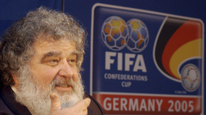 FILE - In this Feb. 14, 2005 file photo, Confederation of North, Central American and Caribbean Association Football (CONCACAF)  Secretary General  Chuck Blazer as he attends a news conference in Frankfurt, Germany.  Blazer was one of four men who pleaded guilty in the Justice Department's corruption investigation into FIFA announced Wednesday May 27, 2015. (AP Photo/Bernd Kammerer, File)