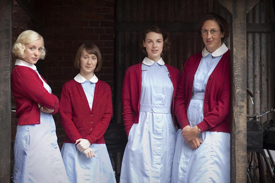 "This publicity image released by PBS shows, from left, Trixie Franklin, Cynthia Miller, Jenny Lee , and Chummy Noakes from the PBS series ""Call the Midwife."" (AP Photo/PBS, Laurence Cendrowicz)"