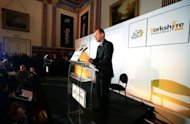Tour de France director Christian Prudhomme gives a press conference to announce the routes for the 2014 Tour de France at Leeds Town Hall in Leeds, northern England, on January 17, 2013