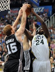 Matt Bonner of the San Antonio Spurs blocks the shot of Paul Millsap of the Utah Jazz during the NBA Playoffs in Salt Lake City, Utah, on May 7. Manu Ginobili scored a team-high 17 points and Tim Duncan had 11 points and five rebounds for the top-seeded Spurs, who went on a 20-2 scoring run in the second half to seize command of game four in their Western Conference series