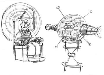 Design sketches for Wallace's contraption from DreamWorks Animation's Wallace & Gromit: The Curse of the Were-Rabbit