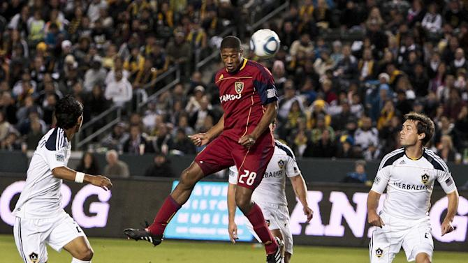 Real Salt Lake defender Chris Schuler heads the ball on net in traffic against the Los Angeles Galaxy during the first half of the Western Conference Championship soccer match Sunday, Nov. 6, 2011, in Carson, Calif. (AP Photo/Bret Hartman)