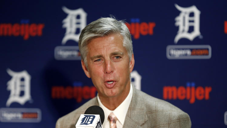 Detroit Tigers general manager David Dombrowski speaks to the media about acquiring Tampa Bay's David Price in a blockbuster deal during a news conference in Detroit, Thursday, July 31, 2014. (AP Photo/Paul Sancya)