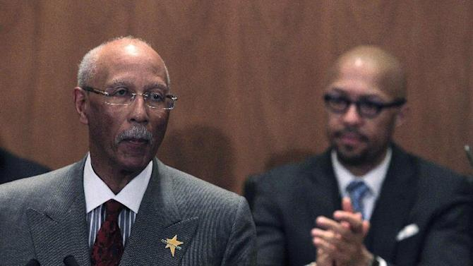 Detroit Mayor Dave Bing lays out his plans and highlights accomplishments in his third State of the City address in Detroit, Wednesday, March 7, 2012. In the background is Detroit City Council President Charles Pugh. (AP Photo/Carlos Osorio)