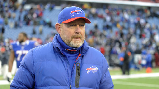 FILE - In this Dec. 30, 2012 file photo, Buffalo Bills head coach Chan Gailey walks off the field after his team's 28-9 win over the New York Jets in an NFL football game in Orchard Park, N.Y. Gailey has been fired by the Buffalo Bills after three losing seasons, the team announced Monday, Dec. 31, 2012. (AP Photo/Gary Wiepert, File)