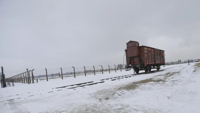 File photo of cargo wagon iparked at the former German Nazi concentration and extermination camp Auschwitz-Birkenau near Oswiecim