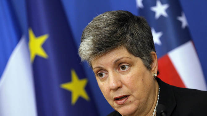 U.S. Secretary of Homeland Security Janet Napolitano delivers a speech during a press conference with French interior minister Claude Gueant and U.S. Attorney General Eric Holder, unseen, in Paris, Friday, Dec. 2, 2011. French authorities have increased security for Syrian opposition members who have come under threat, the interior minister said Friday. France, Syria's one-time colonial ruler, has strongly endorsed the council and holds a tough diplomatic line against the deadly crackdown by Syrian President Bashar Assad's regime on an anti-government uprising. (AP Photo/Christophe Ena)