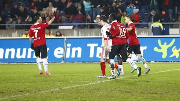 Hanover's Szabolcs Huszti won and scored two penalties in the 3-2 win over Bayer Leverkusen