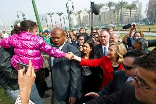 <p>US Secretary of State Hillary Clinton makes an unannounced visit to Tahrir Square in Cairo in March. Clinton arrives in Cairo on Saturday for talks with new President Mohamed Morsi, amid a power struggle between the Islamist leader and the generals who ruled Egypt after Hosni Mubarak was ousted.</p>