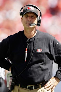 Jim Harbaugh has guided the 49ers to the past three NFC championship games. (Getty)