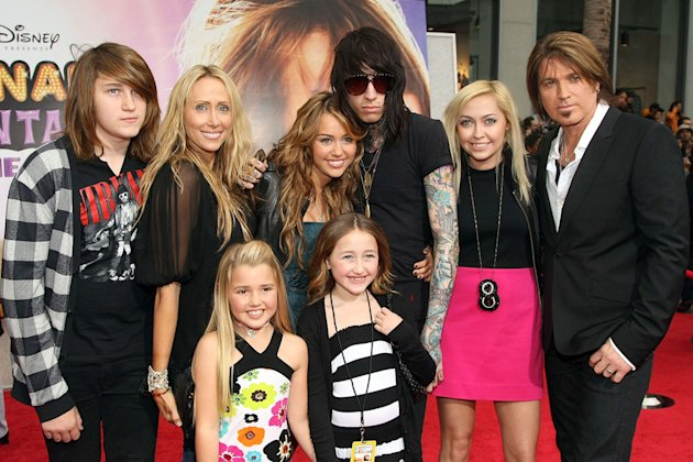 The Hannah Montana Movie LA premiere 2009 Miley Cyrus Billy Ray Cyrus