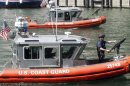 Coast Guard boats patrol the Chicago River
