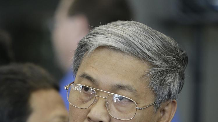 In this Thursday, Sept. 20, 2012 photo, Tun Oo, who was a construction engineer in Asia and now works in a Fort Wayne, Ind. factory, speaks during a new conference in Fort Wayne, Ind. When he's not working, Oo heads the local branch of Aung San Suu Kyi's party. (AP Photo/Darron Cummings)