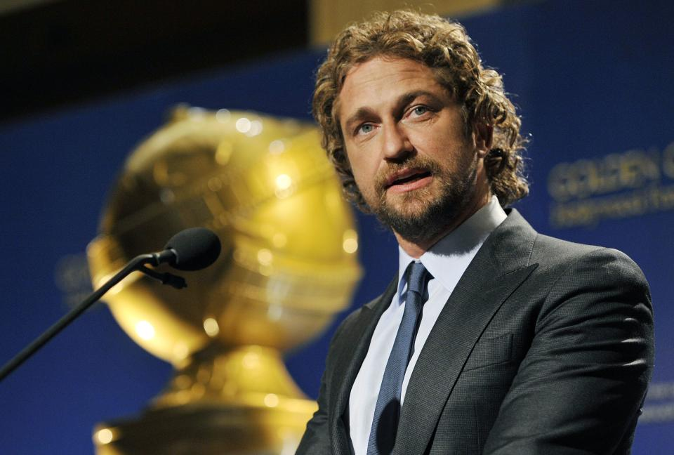 Presenter Gerard Butler announces nominations for the 69th Annual Golden Globe Awards, Thursday, Dec. 14, 2011, in Beverly Hills, Calif. The Golden Globe Awards will be held on Sunday, Jan. 15, 2012, in Beverly Hills, Calif. (AP Photo/Chris Pizzello)