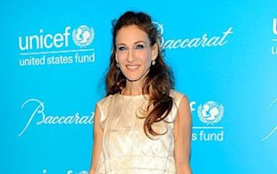 Sarah Jessica Parker is feathered and dyed at the UNICEF Snowflake Ball in NYC
