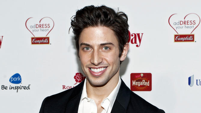"""FILE - This Feb. 15, 2012 file photo released by Campbell's shows actor Nick Adams at the Campbell's sponsored Women's Day Red Dress Awards in New York. Adams, Ashley Brown, Jessica Rush and Michael James Scott will lend their voices to a benefit production of Jason Robert Brown's """"Songs for a New World"""" this spring.The four will appear in the one-night-only show on March 11 at XL Cabaret, west of Times Square. Jeff Calhoun will direct. (AP Photo/Campbell's, Brian Ach)"""