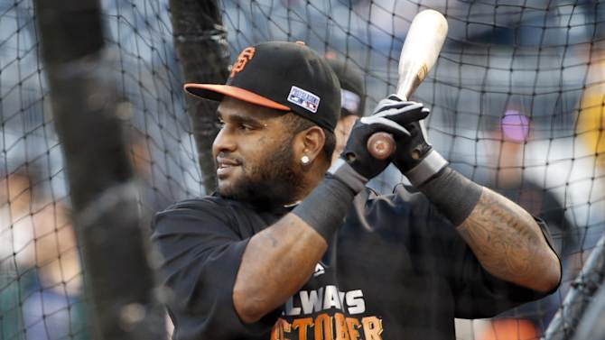 San Francisco Giants' Pablo Sandoval warms up during batting practice before the Giants' wild-card playoff baseball game against the Pittsburgh Pirates on Wednesday, Oct. 1, 2014, in Pittsburgh. (AP Photo/Gene J. Puskar)