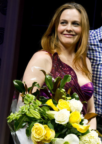 Alicia Silverstone appears at the curtain call for the opening night performance of the Broadway play &quot;The Performers&quot; on Wednesday, Nov. 14, 2012 in New York. (Photo by Charles Sykes/Invision/AP)