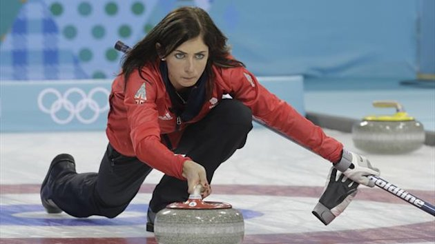 Britain's skip Eve Muirhead delivers a stone
