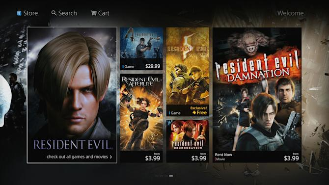 """This image provided by Sony Corp. shows a screen shot displaying Sony's new PlayStation Store. Sony Corp. is preparing a common storefront across devices from its game console to its Web-connected TVs, Blu-ray players and phones. The store puts related game and movie franchises together on one page. That will allow fans of video games like """"Resident Evil"""" or """"Lego Harry Potter"""" to buy or rent movies from the same series more easily. (AP Photo/Sony Corp.)"""