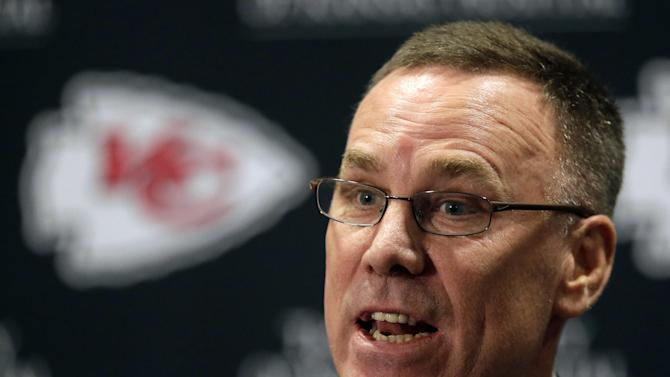 FILE - In this Jan. 14, 2013 file photo, Kansas City Chiefs general manager John Dorsey speaks at a news conference in Kansas City, Mo. He was lured away from the Green Bay Packers to be the GM of the Chiefs, and then went about rebuilding the once-proud franchise fallen on hard times. The fruits of his labor are evident with the Chiefs headed to the playoffs. (AP Photo/Charlie Riedel, File)