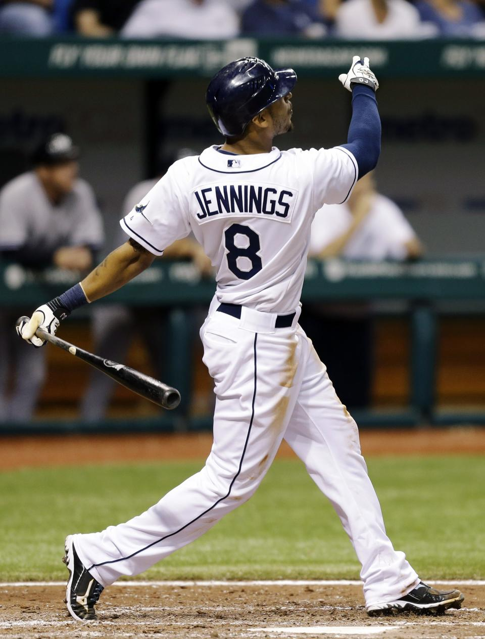 Tampa Bay Rays' Desmond Jennings follows the flight of his fifth-inning home run off New York Yankees starting pitcher Freddy Garcia during a baseball game, Tuesday, Sept. 4, 2012, in St. Petersburg, Fla. (AP Photo/Chris O'Meara)