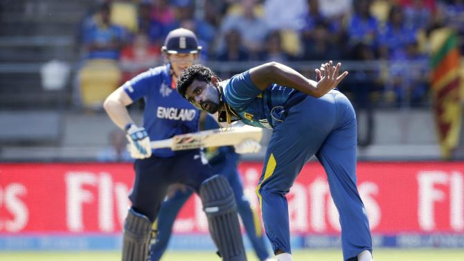 Sri Lanka's Perera fails to field a shot from England's captain Morgan during their Cricket World Cup match in Wellington