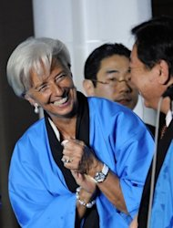 IMF managing director Christine Lagarde (left) and Japanese Prime Minister Yoshihiko Noda, pictured during reception for the IMF and the World Bank Annual Meetings in Tokyo, on October 12. Heads of the IMF and World Bank are meeting in Japan from October 9 to 14