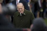The husband of Britain&#39;s Queen Elizabeth II, Prince Philip, arrives for the British royal family&#39;s traditional Christmas Day church service in Sandringham, England, Tuesday, Dec. 25, 2012. (AP Photo/Matt Dunham)