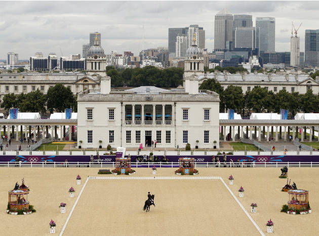 Spain's Morgan Barbancon Mestres riding Painted Black competes in the equestrian dressage individual grand prix special at the London 2012 Olympic Games in Greenwich Park