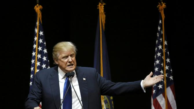 Republican U.S. presidential candidate Donald Trump speaks to supporters at the Verizon Wireless Arena during a campaign event in Manchester