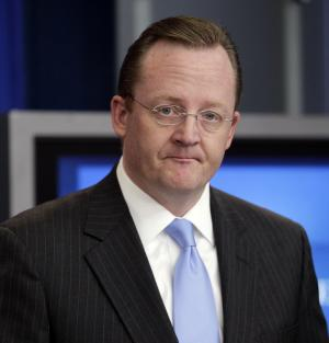 FILE - In this Dec. 14, 2010 file photo, White House Press Secretary Robert Gibbs pauses during his daily news briefing at the White House in Washington. Gibbs says he is resigning his job as the president's chief spokesman.  (AP Photo, File)