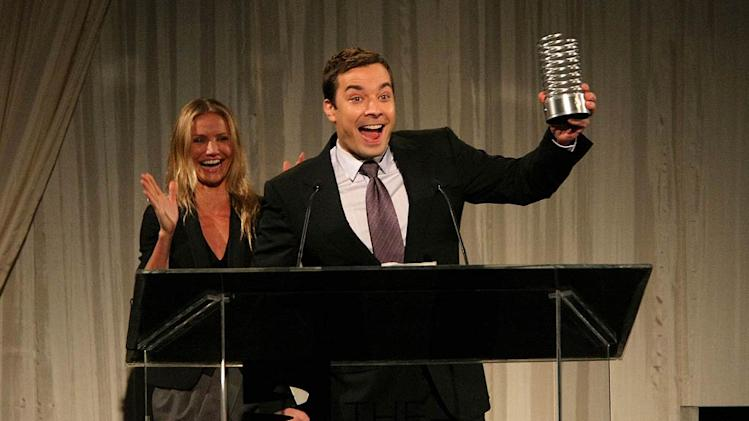 Jimmy Fallon is presented his Webby Person of the Year Award by actress Cameron Diaz during the 13th Annual Webby Awards at Cipriani Wall Street on June 8, 2009 in New York, New York.