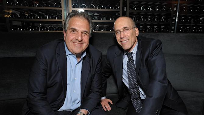 Jim Gianopulos, left, co-chairman and CEO of Fox Filmed Entertainment, and Jeffrey Katzenberg, CEO of DreamWorks Animation, attend The Hollywood Reporter Nominees' Night at Spago on Monday, Feb. 4, 2013, in Beverly Hills, Calif. (Photo by John Shearer/Invision for The Hollywood Reporter/AP Images)