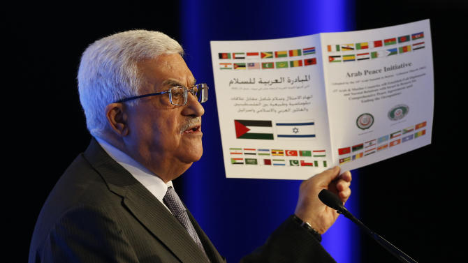 Palestinian President Mahmoud Abbas speaks at the World Economic Forum on the Middle East and North Africa at the King Hussein Convention Center at the Dead Sea in Jordan Sunday, May 26, 2013.  (AP Photo/Pool, Jim Young)