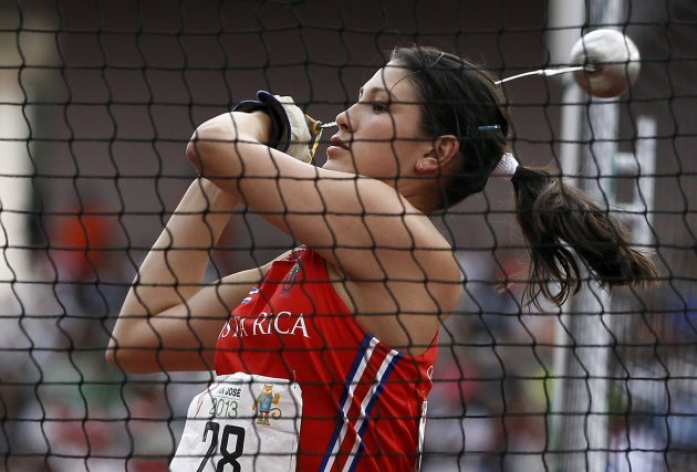 Costa Rica's Viviana Abarca competes in the women's hammer throw final at the Central American Games in San Jose