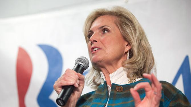 Ann Romney, wife of Republican presidential candidate Mitt Romney, speaks to supporters in Grand Rapids, Mich. on Monday, Oct. 29, 2012. (AP Photo/Detroit News, Adam Bird, Pool)