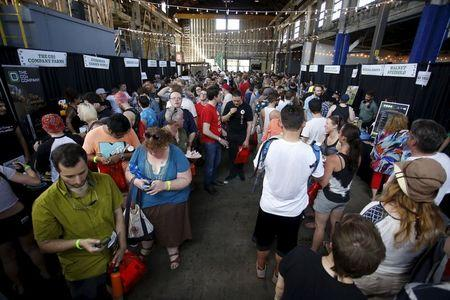 """Marijuana enthusiasts gather at a """"Weed the People"""" event to celebrate the legalization of recreational use of marijuana in Portland, Oregon"""