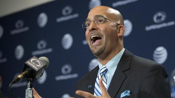 James Franklin answers questions from reporters after he was introduced as Penn State's new football coach during a news conference on Saturday Jan. 11, 2014, in State College, Pa. (AP Photo/John Beale)